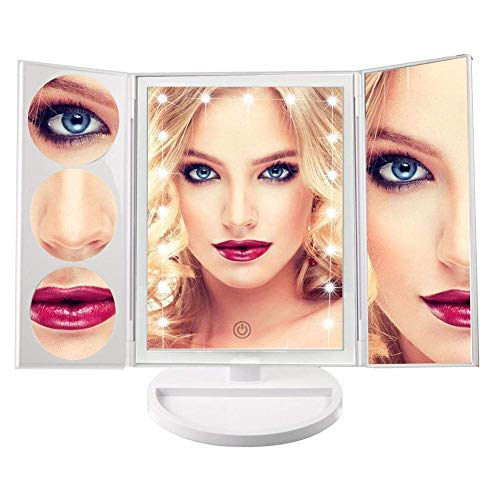 18 Led Makeup Mirror, 3x/5x/10x Magnification Rotating Cosmetic Tri-Fold illuminated Touch Screen -
