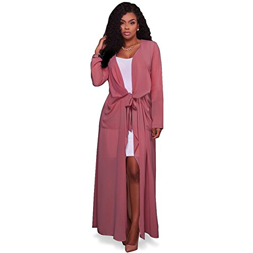 Women's Long Sleeve Cover Up Thin Lightweight Waterfall Belted Open Long Loose Chiffon Maxi Cardigan Trench Coat Pink (Long Sleeve Trench Coat)