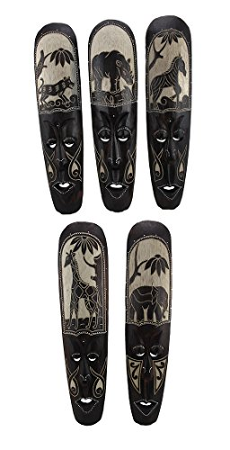 Decorative African Wood (Wood Decorative Masks Set Of 5 African Animal Hand Carved Wooden Wall Masks 4.25 X 19.75 X 1.25 Inches Black)