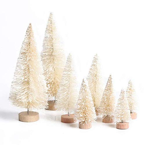 TrustBT 8Pcs Sisal Fiber Mini Christmas Tree Snow Frost Small Pine Tree DIY Table Christmas Decor Winter Crafts Ornaments (Ivory) ()