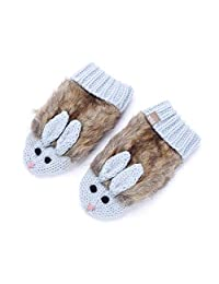 Faux Fur Cozy Cute Bunny Mittens