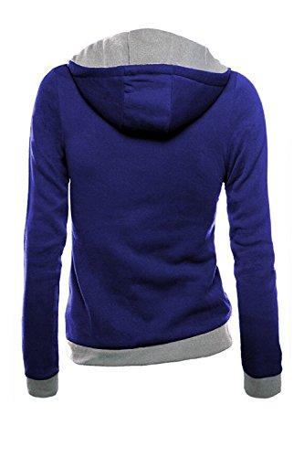 Turn Front Coat Up Womens Jacket Open Collar Zip down Blue Bias Sweatshirt Colorbloack F1Rxw1gTq5