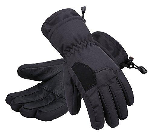 Andorra Child's 2-Tone Geometric Thinsulate Cotton Ski Gloves,Black,L(10-12 Years)
