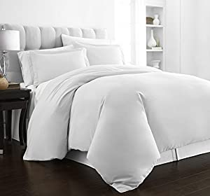 Beckham Hotel Collection Luxury Soft Brushed 2100 Series Microfiber Duvet Cover Set - Hypoallergenic - King/California King - White