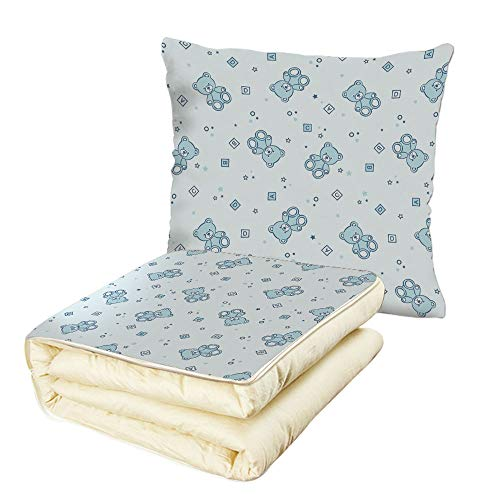 iPrint Quilt Dual-Use Pillow Nursery Teddy Bears and Toys with Letters on Children Imagery Baby Blue Background Multifunctional Air-Conditioning Quilt Baby Blue ()