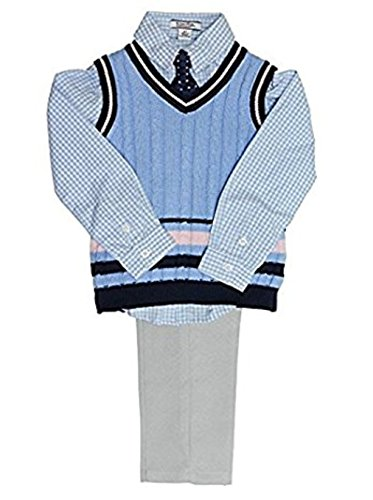 Kitestrings 4 Piece Dress Set for Boys (7, Gray/Light Blue) (Hartstrings Cotton Dress)