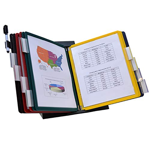 Ultimate Office DocuMate 10-Pocket Desk Reference Organizer with Assorted Color Easy-Load Pockets, Steel-Reinforced Pins, and Free Bonus Panel - Easy Organizer