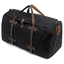 Fresion Stylisch Wasserdicht Sporttasche Groß Canvas Handtasche Leder Duffel Bag Reisetasche Unisex Handgepäck für Reise am Wochenend Urlaub 35 Liter