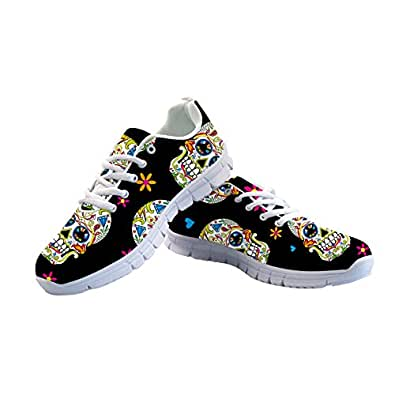 FOR U DESIGNS Women's Running Sneaker Lightweight Go Easy Walking Jogging Sports Running Shoes Rose Floral Print Multi-Color Size: 6