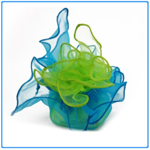 12x Designer Organza Gift Bags for Weddings & Party Favors - 11 inch square - Turquoise and Apple Green Flowers Designer Fabric