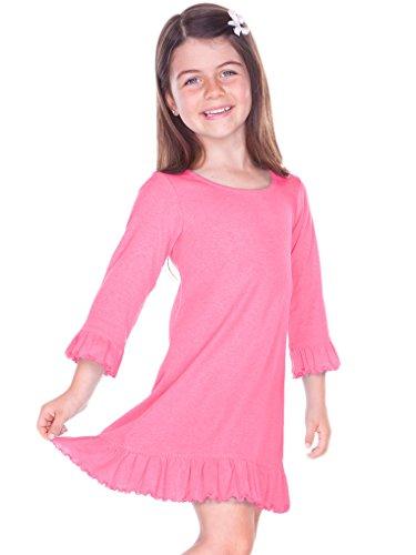 Kavio! Girls 3-6X Ruffled 3/4 Sleeve A-Line Dress Pink Flash 6X - Lettuce Edge T-shirt
