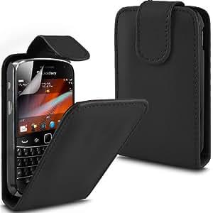 ONX3 Bold Touch 9900 PREMIUM PU Flip Case BlackBerry Cuero Negro + X10 Protector de pantalla Guardia