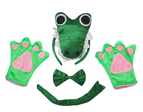 Petitebella 3D Green Crocodile Headband Bowtie Tail Gloves Adult 4pc Costume (One Size) -