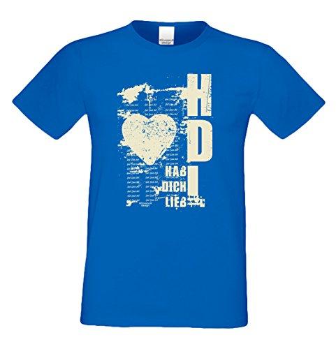T-Shirt - Hab dich lieb Shirt Farbe blau - romantisches Sprüche Shirt als Geschenk zum Valentinstag