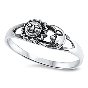 Sun Moon Universe Space Fashion Ring New .925 Sterling Silver Band Sizes 4-10