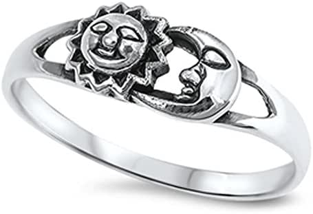 Sun Moon Universe Space Fashion Ring New .925 Sterling Silver Band Sizes 4-12