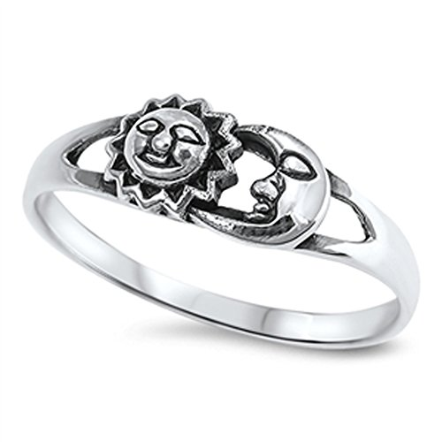 Sun Moon Universe Space Fashion Ring New .925 Sterling Silver Band Sizes 4-10 by Sac Silver