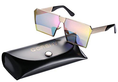 Sunglasses For Men Women Square Oversized Metal Frame Brand Designer (Gold frame/pink lens, as - Brand X Eyewear