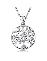 AEONSLOVE 925 Sterling Silver Celtic Tree of Life CZ Angel Wing Teardrop Necklace Pendant, 18'' Chain, Jewelry Gifts for Women Girls