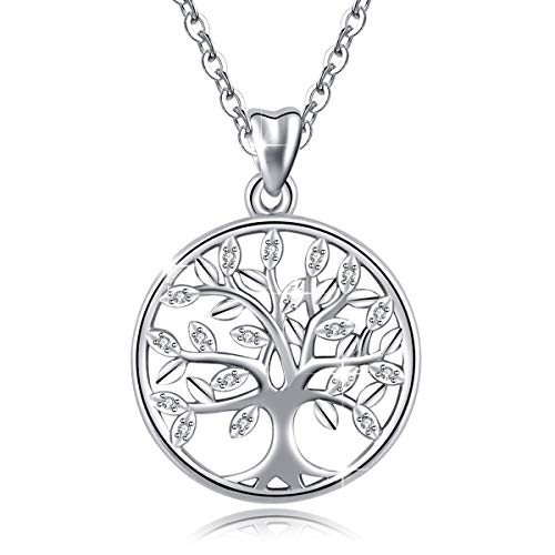 (AEONSLOVE 925 Sterling Silver Family Tree of Life Cubic Zirconia Pendant Necklace for Women, 18'' Chain, Gifts for Ladies Girls)