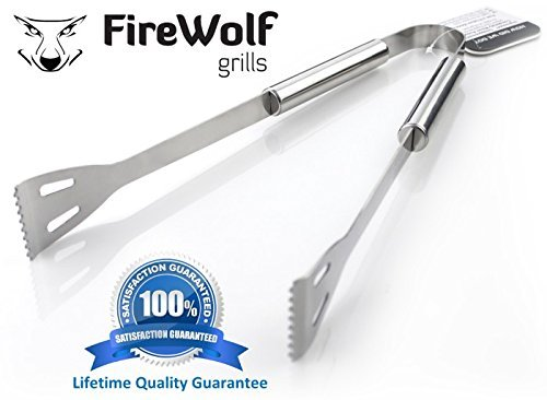 Barbeque Tongs by FireWolf Grills. Stainless Steel BBQ Tongs (33.5cm) for the (Stainless Steel Grill Tongs)