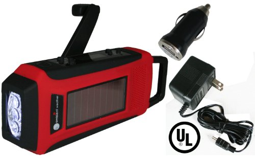 Ambient Weather Wr 099 U Kit Compact Emergency Solar Hand Crank Am Fm Weatherband Digital Radio  Flashlight  Cell Phone Charger  Cables  Ac Adapter   Dc Converter