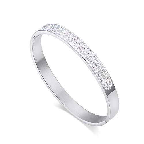 VNOX Stainless Steel Cubic Zirconia Rhinestones Paved Eternity Cuff Bangle Bracelet for ()