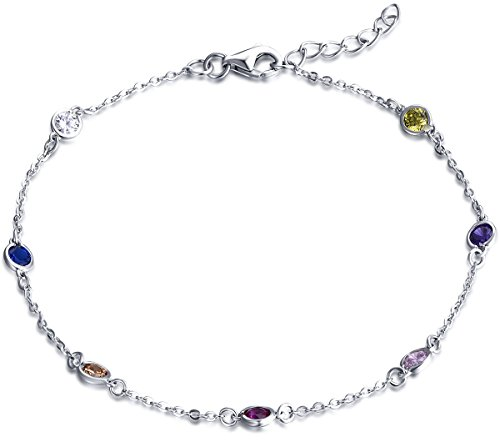 YL Rainbow Bracelets Sterling Silver Gemstones Multi-color Cubic Zirconia Bff Jewelry