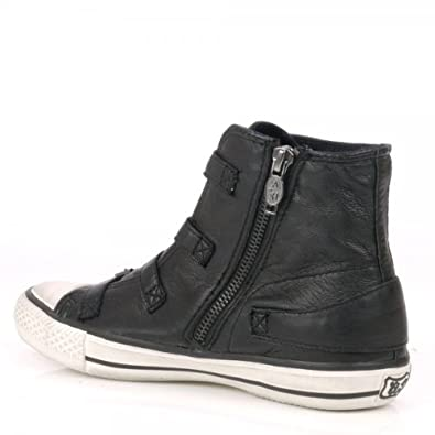 239131127f5d Ash Virgin Black Hi Top Trainers in Black Leather With Buckle Detail (39)