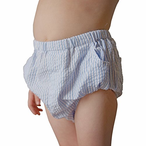 Huggalugs Baby & Toddler Boys Blue Seersucker Diaper Cover 0-3 ()