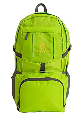 Lightweight Packable Backpack | Great for Traveling, Hiking, Cycling, Shopping | Durable Daypack in Safety Green and Black