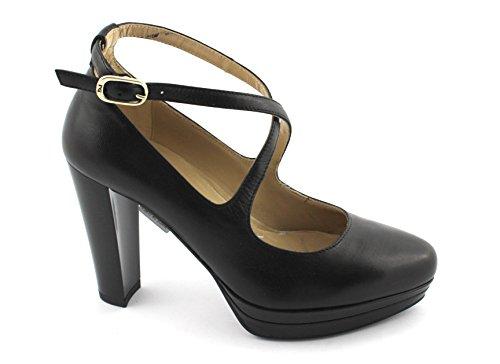 Nero Giardini Black Gardens 19640 Schwarze Frauen Schuhe Fersenriemen Plateaus Nero