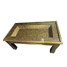 Moroccan Carved Brass & Metal Detail Arabesque Design Coffee Table