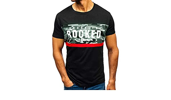muyuhan Mens Slim Letter Printed Short Sleeve O-Neck T Shirt Summer Casual Top Blouse