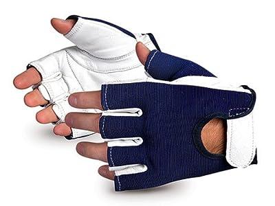 VibrastopTM Goatskin Leather Palm Half-Finger Vibration-Dampening Gloves