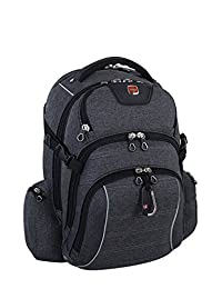 Swiss Gear International Carry-On Size Rainproof Backpack for Laptop - Fits 15.6-Inch to 17.3-Inch Laptop, Black