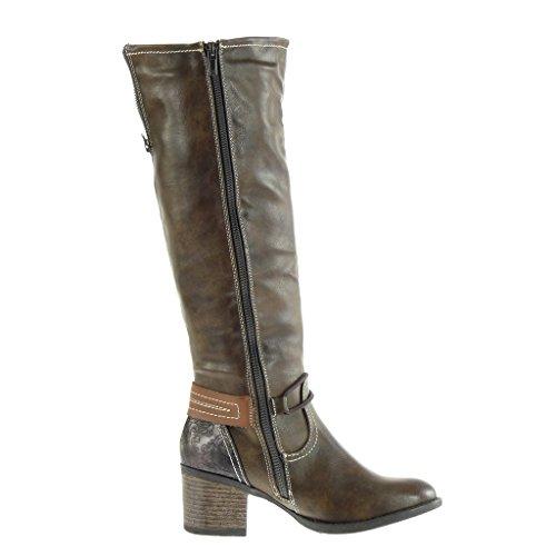Angkorly - damen Schuhe Stiefel - Reitstiefel Kavalier - vintage-stil - Schleife - Fertig Steppnähte - Reißverschluss Blockabsatz high heel 5 CM Khaki