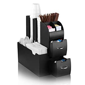 "Mind Reader ""Organizer"" Coffee Condiment and Accessories Caddy, Black (BLACK, 2)"