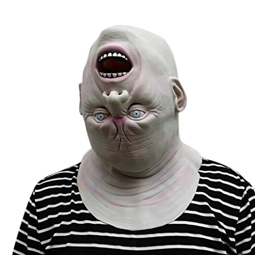 (XILALU Down Full Head Creepy Latex Head Mask, Lifelike Human Face Halloween Scary Props Party Masquerade Cosplay)
