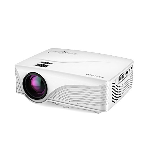 Abdtech 1200 Lumens Mini LED Multimedia Home Theater Projector – Max 120″ Screen Optical Keystone USB/AV/SD/HDMI/VGA Interface C Ideal for Video Games, Movie Night, Family Videos and Pictures