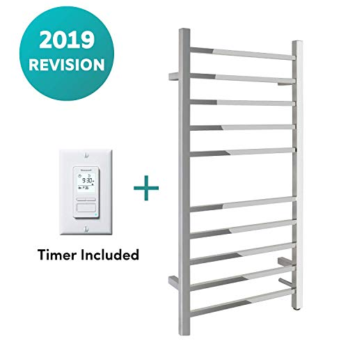 WarmlyYours 10-Bar Metropolitan Towel Warmer, Hardwired, Polished Stainless Steel
