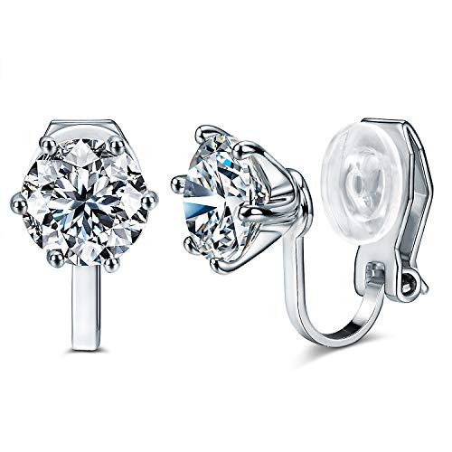 14K Rose Gold Plated 1.5 Carat CZ Clip-On Earrings - 7.5mm Round Cut Simulated diamond Clip-ons (White Gold)