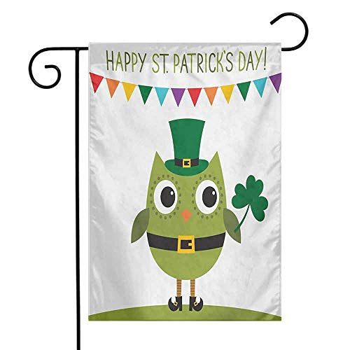 Mannwarehouse St. Patricks Day Garden Flag Owl with Leprechaun Costume Greeting Design for Party Shamrock Pattern Premium Material W12 x L18 Multicolor]()