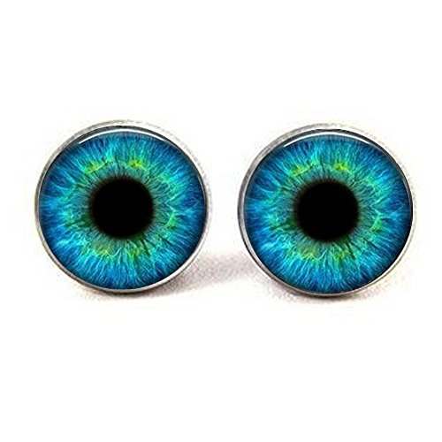 Turquoise Blue Cat Eye Earrings - Many Custom Options - Realistic Animal Dragon Eyeball Pendant - Steampunk Gothic (Cat Turquoise Pendant)