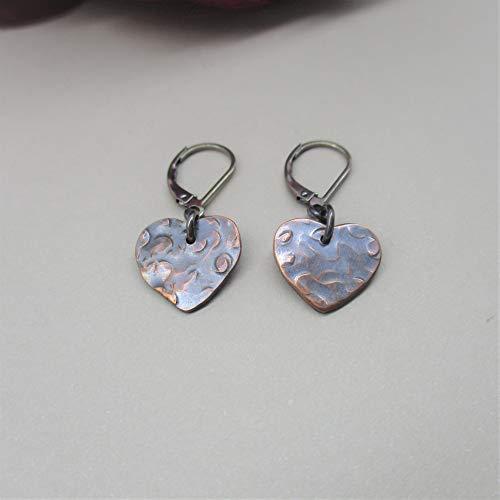 heart minimalist drop dangle earrings available in Copper and Gunmetal - leverback ()