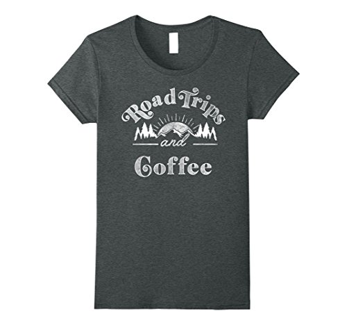 Womens Road Trips And Coffee Mountain Sunrise Vintage T-Shirt Medium Dark - Ladies Road Trip