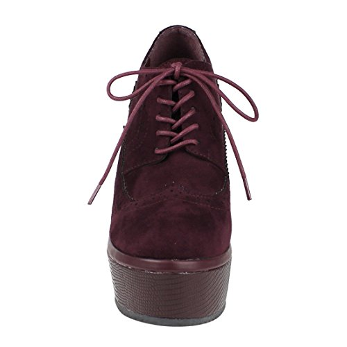 Beston Fm19 Donna Lace Up Cucito Wingtip Block Tacco Alto Oxfords Platform Vino