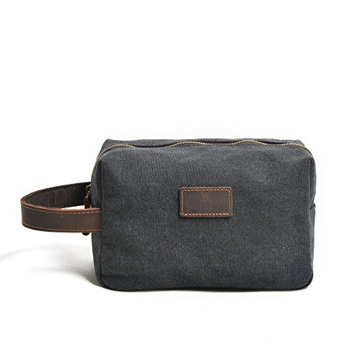RUGAI-UE Man Hand Capture Encryption Cotton Canvas Wash Bag Retro Wrist Bag Hand Bag,Carbon Black