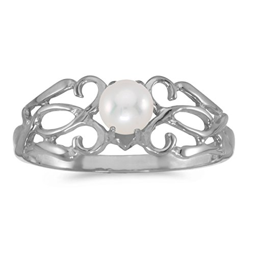 14k Gold Round Cream Pearl Solitaire Filigree Design Antique Engagement Fashion Ring - White-gold, Size 5