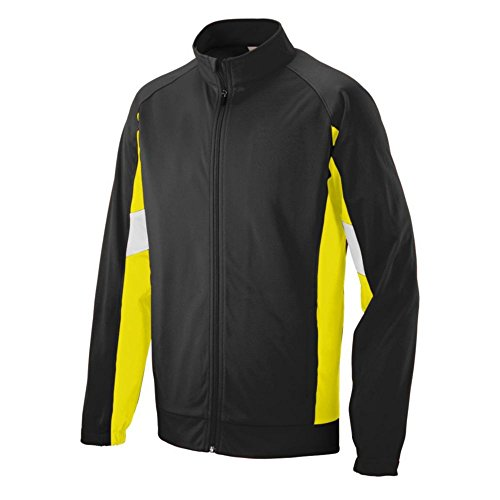 Augusta Activewear Youth Tour De Force Jacket, Black/Power Yellow/White, Medium